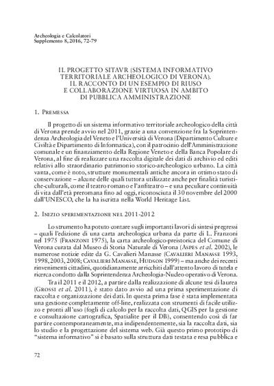 Il progetto SITAVR (Sistema Informativo Territoriale Archeologico di Verona). Il racconto di un esempio di riuso e collaborazione virtuosa in ambito di Pubblica Amministrazione