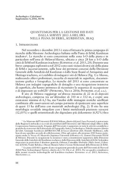 QuantumGIS per la gestione dei dati dalla survey 2013 a Helawa nella piana di Erbil, Kurdistan, Iraq