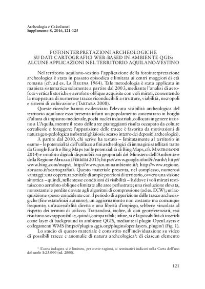Fotointerpretazioni archeologiche su dati cartografici web-based in ambiente QGIS: alcune applicazioni nel territorio aquilano-vestino