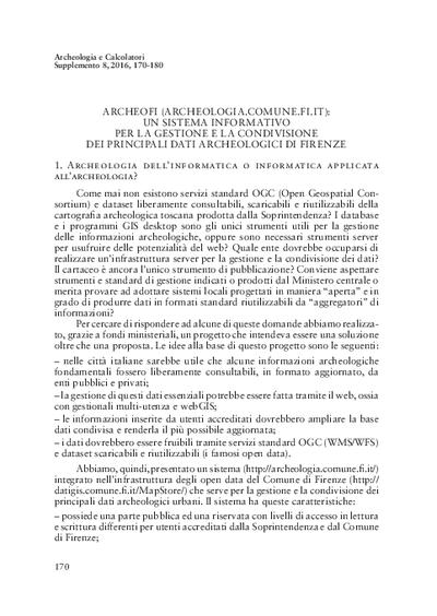 ArcheoFi (archeologia.comune.fi.it): un sistema informativo per la gestione e condivisione dei principali dati archeologici di Firenze