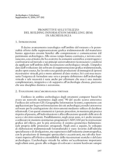Prospettive sull'utilizzo del Building Information Modelling (BIM) in archeologia