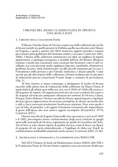I bronzi del Museo Claudio Faina di Orvieto: una banca dati