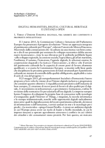 Digital Humanities, Digital Cultural Heritage e l'istanza open