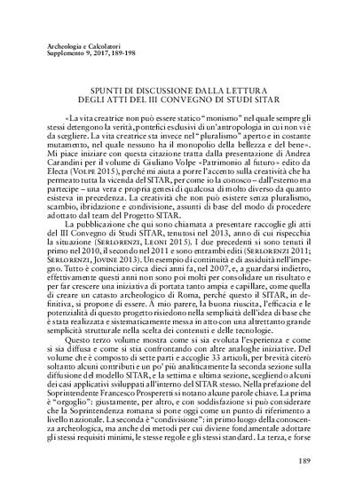 Spunti di discussione dalla lettura degli Atti del III Convegno di Studi SITAR