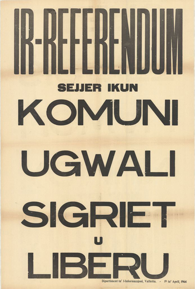 Poster for the Referendum on Malta's Independence
