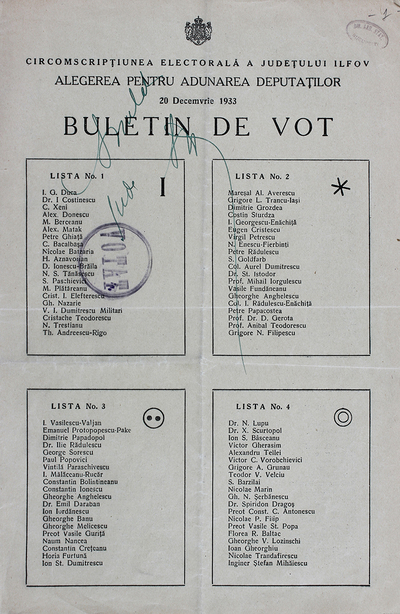 Ballot issued by Ilfov county Elections Department for the suffrage (Assembly of Deputies) in December the 20th, 1933.