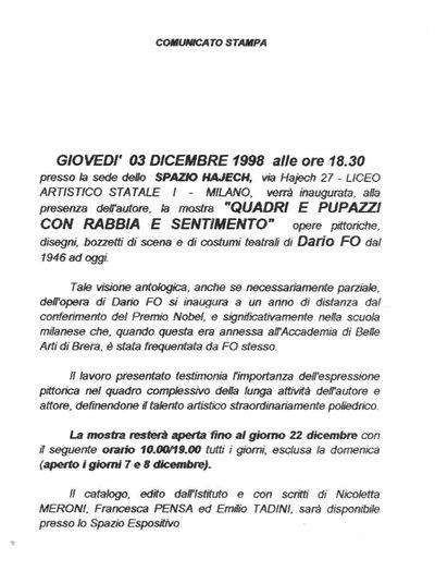 Comunicati, circolari, certificati medici Mostre di Dario Fo e Franca Rame<BR>Documenti dal 1972
