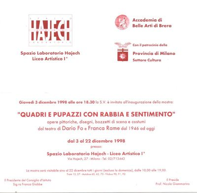 Inviti Mostre di Dario Fo e Franca Rame<BR>Documenti dal 1972