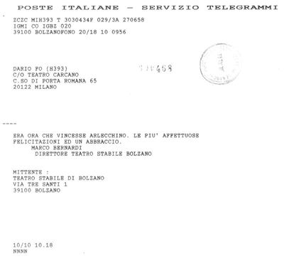 Telegrammi Premio Nobel per la Letteratura - 1997
