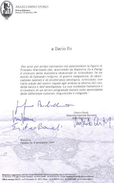 Lettere Premi e riconoscimenti a  Dario Fo oppure a Franca Rame e Dario Fo
