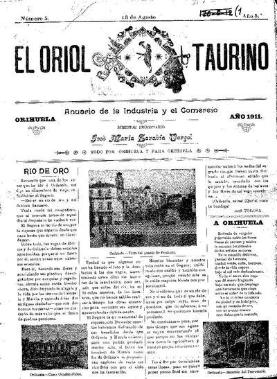 El Oriol taurino : anuario de la industria y comercio, todo por Orihuela y para Orihuela