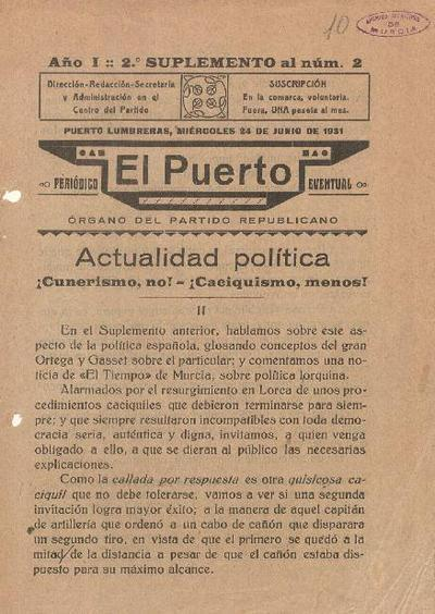 El Puerto : periódico eventual : órgano del Partido Republicano