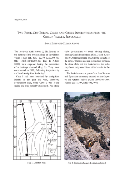 Two Rock-Cut Burial Caves and Greek Inscriptions from the Qidron Valley, Jerusalem (pp. 13–24)