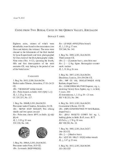 Coins from Two Burial Caves in the Qidron Valley, Jerusalem (pp. 25–27)