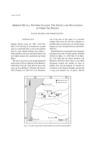 Khirbat Din'ila, Western Galilee: The Survey and Excavations of Three Oil Presses (pp. 37–69)