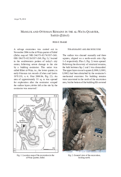 Mamluk and Ottoman Remains in the al-Wata Quarter, Safed (Zefat) (pp. 113–137)