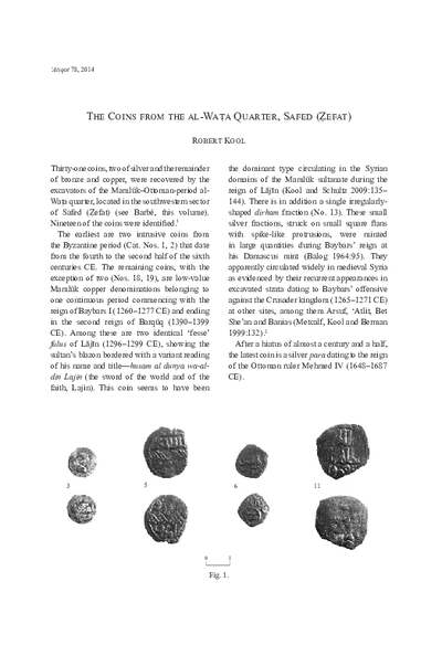 The Coins from the al-Wata Quarter, Safed (Zefat) (pp. 139–142)