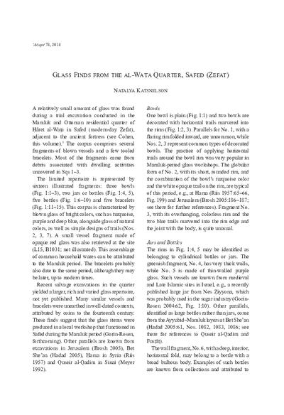 Glass Finds from the al-Wata Quarter, Safed (Zefat) (pp. 153–157)
