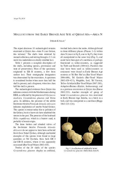 Molluscs from the Early Bronze Age Site at Qiryat Ata––Area N (pp. 59–62)