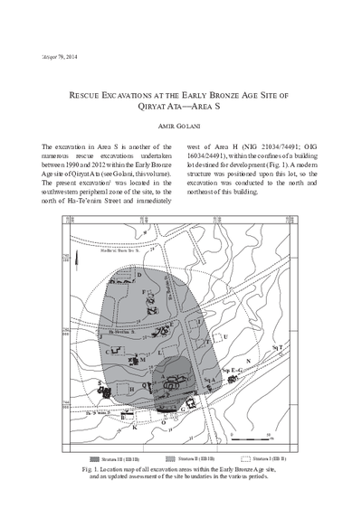 Rescue Excavations at the Early Bronze Age Site of Qiryat Ata––Area S (with a contribution by Hamoudi Khalaily) (pp. 63–98)