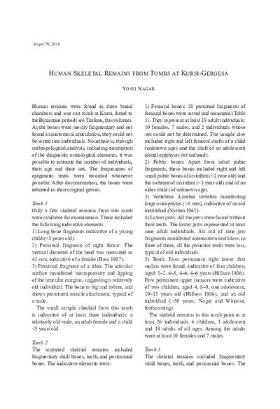 Human Skeletal Remains from Tombs at Kursi-Gergesa (pp. 209–212)