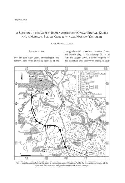 A Section of the Gezer–Ramla Aqueduct (Qanat Bint al-Kafir) and a Mamluk-Period Cemetery near Moshav Yashresh (pp. 213–230)