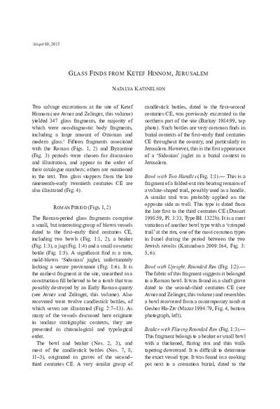 Glass Finds from Ketef Hinnom, Jerusalem (pp. 35–44)