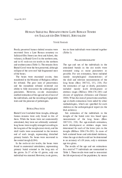 Human Skeletal Remains from Late Roman Tombs on Sallah ed-Din Street, Jerusalem (pp. 73–79)