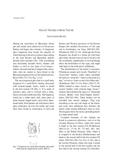 Glass Vessels from Yavne (pp. 35*–37*)