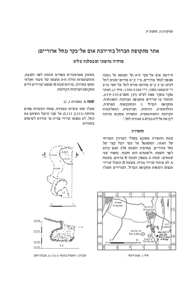 An Iron Age Site at Khirbat Umm el-Baqr (Nahal Adorayim) (with contributions by Emil Aladjem)(Hebrew, pp. 69–105; English summary, pp. 122*–123*)