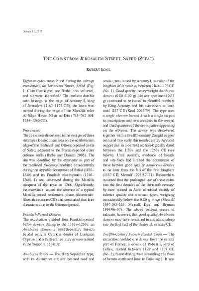The Coins from Jerusalem Street, Safed (Zefat) (pp. 91*–97*)