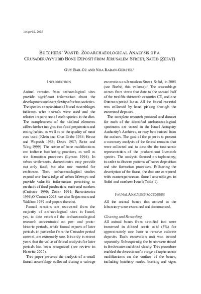 Butchers' Waste: Zooarchaeological Analysis of a Crusader/Ayyubid Bone Deposit from Jerusalem Street, Safed (Zefat) (pp. 99*–109*)