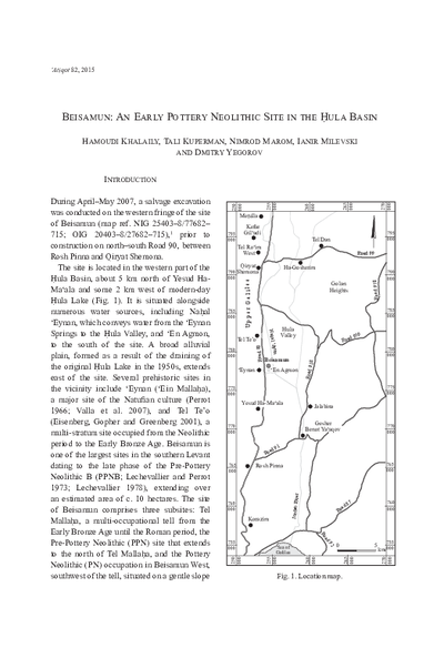 Beisamun: An Early Pottery Neolithic Site in the Hula Basin (pp. 1–61)