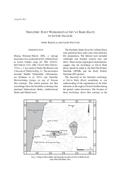 Neolithic Flint Workshops at Giv'at Rabi (East) in Lower Galilee (pp. 63–83)