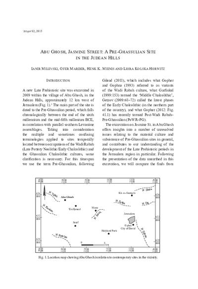 Abu Ghosh, Jasmine Street: A Pre-Ghassulian Site in the Judean Hills (pp. 85–130)
