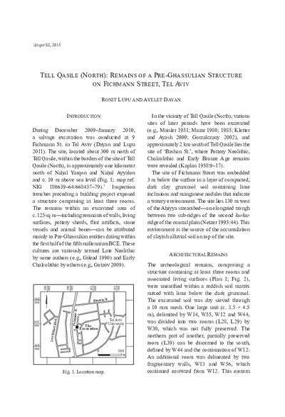 Tell Qasile (North): Remains of a Pre-Ghassulian Structure on Fichmann Street, Tel Aviv (pp. 131–139)