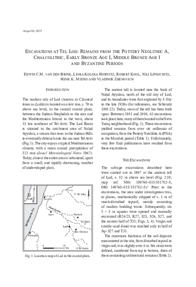 Excavations at Tel Lod: Remains from the Pottery Neolithic A, Chalcolithic, Early Bronze Age I, Middle Bronze Age I and Byzantine Periods (pp. 141–218)