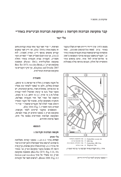 A Tomb from the Early Bronze Age I and the Intermediate Bronze Age at Azor (Hebrew, pp. 1*–8*; English summary, p. 255)