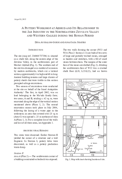 A Pottery Workshop at Ahihud and Its Relationship to the Jar Industry in the Northeastern Zevulun Valley and Western Galilee during the Roman Period (pp. 67–92)