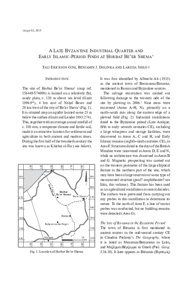 A Late Byzantine Industrial Quarter and Early Islamic-Period Finds at Horbat Be'er Shema' (pp. 209–248)