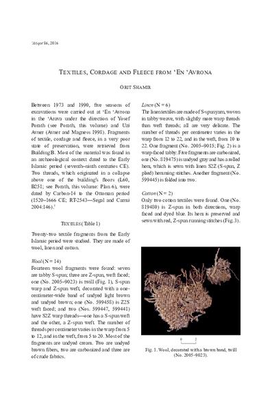 Textiles, Cordage and Fleece from 'En 'Avrona (pp. 3–9)
