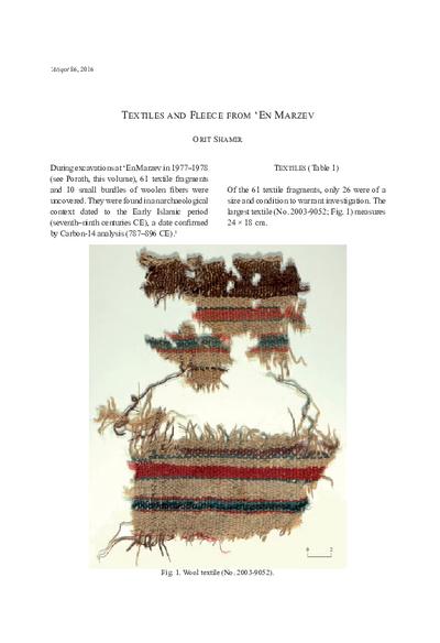Textiles and Fleece from 'En Marzev (pp. 11–19)