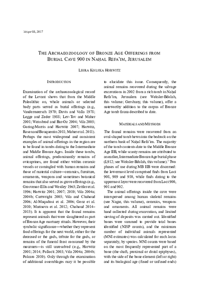 The Archaeozoology of Bronze Age Offerings from Burial Cave 900 in Nahal Refa'im, Jerusalem (pp. 75–100)
