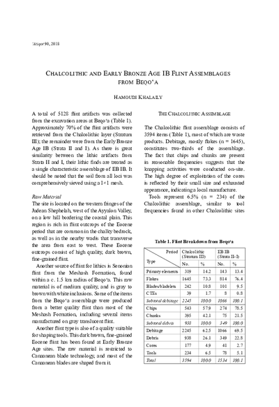 Chalcolithic and Early Bronze Age IB Flint Assemblagesfrom Beqo'a (pp. 55–56)