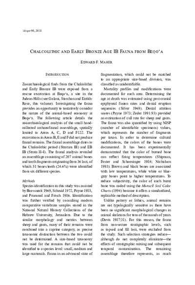Chalcolithic and Early Bronze Age IB Fauna from Beqo'a (pp. 67–74)