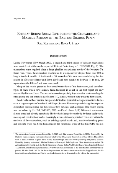 Khirbat Burin: Rural Life during the Crusader and Mamluk Periods in the Eastern Sharon Plain (pp. 145–217)