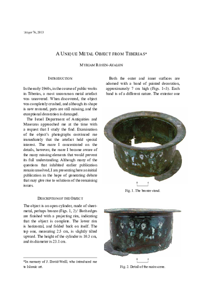 A Unique Metal Object from Tiberias  (pp. 173–181)