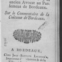 Remarques de M. Faute, sur le Commentaire de la coutume de Bordeaux