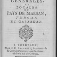 Les Coutumes générales et locales du Pays de Marsan, Tursan et Gabardan