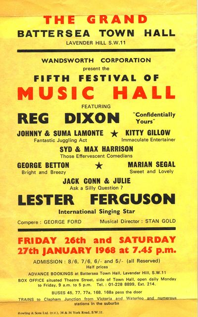 Fifth Festival of Festival of Music Hall, 26 January 1968